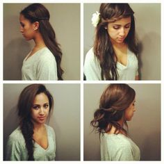 Cute Easy Hair Styles - girly hair makeup nails etc My Hairstyle, Boho Hairstyles, Pretty Hairstyles, Simple Hairstyles, Hairstyle Ideas, Updo, Tips Belleza, Looks Style, Mode Inspiration