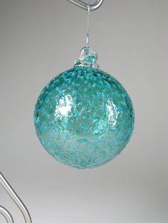 Christmas Ornament Blown Glass Suncatcher Deep Teal Blue Green Sea Ice
