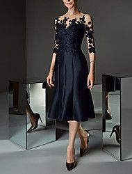 A-Line Bateau Neck Knee Length Lace / Satin Mother of the Bride Dress with Appliques / Buttons by LAN TING Express / See Through Cheap Party Dresses, Party Dresses Online, Plus Size Black Dresses, Types Of Dresses, Groom Dress, Mi Long, The Dress, Elegant Dresses, Special Occasion Dresses