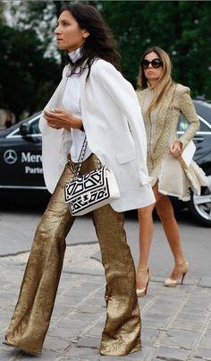 Glitter Shiny Goodness #bellbottoms #leather #fashion
