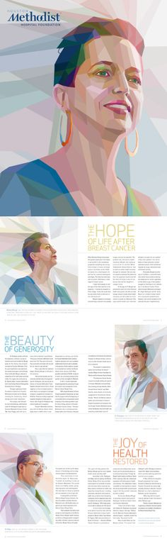 Houston Methodist Hospital: Hope After Breast Cancer by Charis Tsevis via behance. This series of portraits was inspired by the scientists of the hospital as well as traditional Methodist stained glass. These portraits show how different colors work to make shadows and highlights that otherwise wouldn't receive much attention. It's an interesting presentation of a portrait rather than the average photograph.
