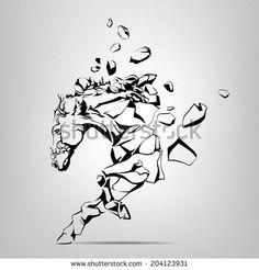 Silhouette of a running mustang from rocks. Vector illustration - stock vector
