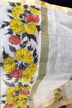 Off White Chanderi Floral Handpainted Stole - Women Stoles Online Saree Painting, Dress Painting, Mural Painting, Fabric Painting, Fabric Art, Hand Painted Sarees, Fabric Paint Designs, Bridal Blouse Designs, Japanese Embroidery
