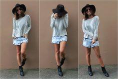 #lookSly blusa de listras, shorts jeans e chapéu