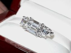 East-west emerald cut 3 stone by David Klass Jewelry. Emerald Cut Rings, Emerald Cut Diamonds, Diamond Gemstone, Diamond Rings, Ring Designs, Classic Engagement Rings, Ring Set, Unique Rings, Fashion Rings