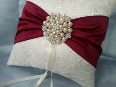 Ivory Dark Red Ring Bearer Pillow Lace Ring Pillow Pearl Rhinestone Accent Cranberry Apple Red on Etsy, $39.00