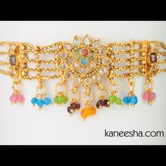 Gold Plated Multicolor Indian Armlet