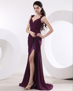 Chiffon Straps V-Neck Sleeveless Evening Dress