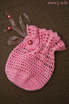 15 crochet cotton wedding bag favor pouch gift sache