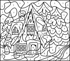 Advanced Coloring Pages of Houses | ... Coloring Pages: Christmas House Printable Color By Number Page Hard