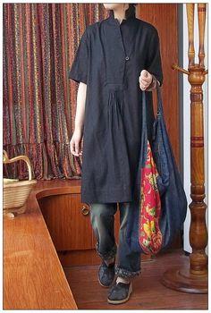 2014 das mulheres estilo chinês do Vintage solta camisa Plus Size uma peça de linho vestido vestidos longos blusas de linho vestidos de Design Original em Blusas de Roupas e Acessórios Femininos no AliExpress.com | Alibaba Group