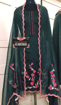 Embroidery Suits Punjabi, Embroidery Suits Design, Embroidery Fashion, Ribbon Embroidery, Dress Indian Style, Indian Dresses, Indian Wear, Stylish Dresses For Girls, Dress Design Sketches