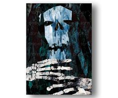 The Crypt Keeper   Skeleton Bones   Scary Halloween Card   Edgar Allan Poe  Quote   Haunted Halloween Party Invitation Or Poster (CHAL20125)