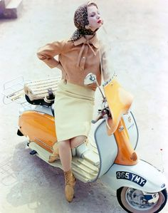 Model on a scooter, London 1961. Photo by Norman Parkinson.
