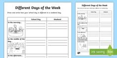 Foundation Comparing Days of the Week Activity Sheet - Australian Curriculum Geometry and Measurement, foundation year, using units of measurement, ACMMG00