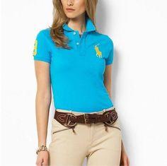 ralph lauren online outlet Women\u0026#39;s Classic Big Pony Short Sleeve Polo Shirt Light Blue http: