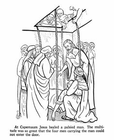Paralytic at Capernaum Miracle - Miracles of Jesus Coloring pages and bible lesson sheets Jesus Coloring Pages, Fish Coloring Page, Adult Coloring Pages, Coloring Sheets, Coloring Book, Jesus Christ Images, Jesus Bible, Bible Verses, Box Templates Printable Free