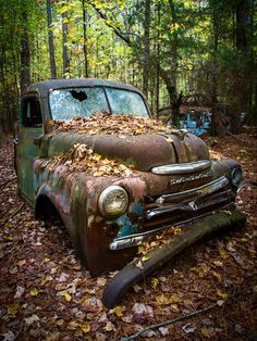 The Old Dodge is a photograph by Debra and Dave Vanderlaan. Abandoned in the forest, this old vintage Dodge pickup truck is rusty but still beautiful! Sitting in the middle of the fall leaves, the rusty body of this previously green pickup truck is a classic, the chrome accents on the hood and front end are still shiny, the cracked windshield reflecting the sky above. Source fineartamerica.com
