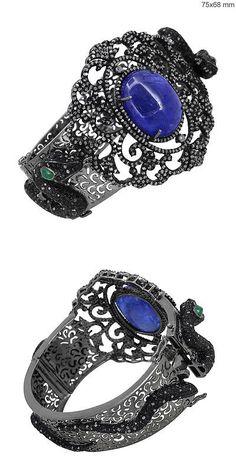 Bracelets 52598: Gemstone Tanzanite/Emerald 925 Silver Pave 12.35 Ct Diamond Snake Bangle Jewelry BUY IT NOW ONLY: $1304.0