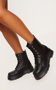 1dc4d432481a Black Chunky Sole Lace Up Ankle Boot Thigh High Boots Heels