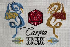 This cross stitch pattern teaches you to take all those crits and roll with it! A great gift for a Dungeons and Dragons (D&D) player or Dungeon Master. The 8-page digital PDF counted cross stitch pattern is an instant download, and includes: - Chart of all colours, including DMC