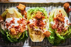 It looks like a halved romaine head, grilled, and served wedge-like with BLT toppings. also looks delicious! Summer Food, Summer Recipes, Cooking Tips, Zucchini, Wedge, Cabbage, Grilling, Bacon, Clean Eating