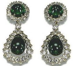 Catherine the Great Emerald and Diamond Earrings