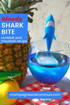 Bite into a bloody shark bite! What better way to quench your thirst during Shark Week than with a shark themed vodka cocktail? It's so easy to make and is a lot of fun with the fake blood. It's only 108 calories so it's a low-calorie cocktail too. Low Calorie Cocktails, Vodka Cocktails, Easy Cocktails, Non Alcoholic Drinks, Summer Cocktails, Beverages, Cocktail And Mocktail, Cocktail Recipes, Drink Recipes