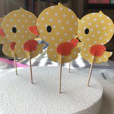 Conjunto de 24 toppers cupcake Ducky de goma caucho Ducky