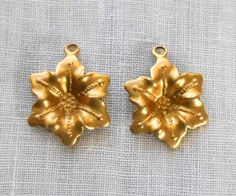 2 Raw Brass Stampings Victorian flower by GloriousGlassBeads