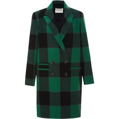 Sea Buffalo Plaid Overcoat ($795) ❤ liked on Polyvore featuring outerwear, coats, double-breasted coat, black overcoat, black wool coat, black double breasted coat and wool overcoat