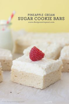 Pineapple Cream Sugar Cookie Bars #cookies