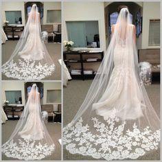 Aliexpress.com da dan deki sıcak satış 2015 hızlı teslimat düğün peçe uzun elegent peçe dantel gelinlik duvak güzellik gelin bir katman