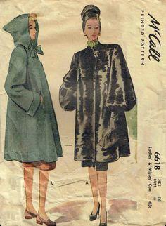 McCall 6618 Ladies and Misses coat 1946 1940s Hoodie.