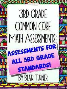 3rd Grade Common Core Math Assessments - ALL STANDARDS BUNDLE...2 assessments for EACH 3rd grade Common Core standard, along with student data tracking pages for each domain. $