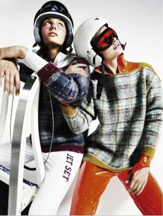 fashion editorials, shows, campaigns & more!: apres chic: karo mrozkova and nyok wesselius by mark pillai for elle spain january 2013 Ski Fashion, Best Mens Fashion, Sport Fashion, Winter Fashion, Fashion Art, Sport Editorial, Editorial Fashion, Elle Spain, Snow Girl