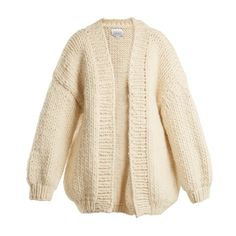 I Love Mr Mittens The Cardigan balloon-sleeved wool cardigan ($449) ❤ liked on Polyvore featuring tops, cardigans, cream, brown top, brown cardigan, brown cardi, wool top and cream cardigan
