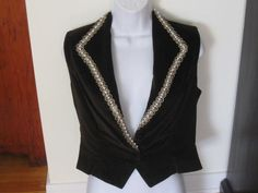 Vintage Brown Velvet Vest, Ladies Vest, Velvet Vest, Pearl Trim, size Small by jonscreations on Etsy