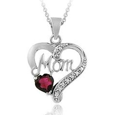 This beautiful pendant showcases a glistening heart-shaped garnet stone and the word 'Mom' accentuated by twinkling white diamonds. Crafted of fine sterling silver with rhodium plating, the necklace includes a matching cable chain.
