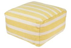 Jamilyn Wool Pouf, Lemon Stripe