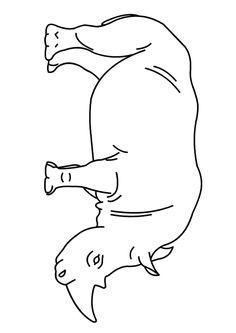 Un rhinocéros facile à colorier pour les enfants.