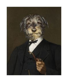 Cairn Terrier With A Pipe Premium Giclee Print by Thierry Poncelet at AllPosters.com