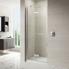 Shop the Merlyn 8 Series Frameless Hinge & Inline Shower Door. Ideal for bathrooms with limited space. Made from 8mm toughened glass.