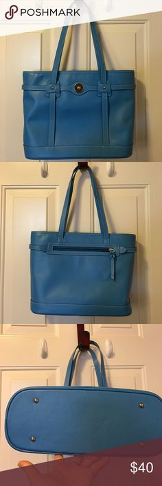 Dooney & Bourke Turquoise tote EUC Dooney & Bourke turquoise color saffiano leather tote handbag...Excellent condition!!! Smoke free pet free home Dooney & Bourke Bags Totes