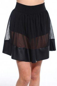 #shopakira.com            #Skirt                    #Pleather #Mesh #Skater #Skirt                      Pleather & Mesh Skater Skirt                                                  http://www.seapai.com/product.aspx?PID=876869