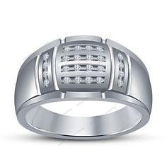 Round Sim.Diamond 14k White Gold Finish 925 Silver Men's Wedding Ring Size 7 8 9…