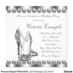 Womans Elegant White Birthday Party Invitation