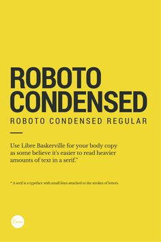 roboto condensed for smaller tall type (second line of text)