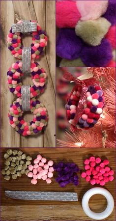 Weekday Crafternoon: DIY Holiday Pompom Wreath + GIVEAWAY! (http://blog.hgtv.com/design/2012/12/04/weekday-crafternoon-diy-holiday-pompom-wreath-giveaway/?soc=pinterest)