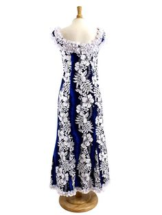 Nahenahe Ruffle Long Muumuu Dress [Hibiscus Fern Panel/Blue]  - Hula Costumes - Hula Supply | AlohaOutlet SelectShop